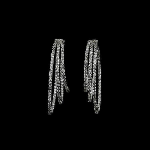18K white gold 3.53ct Diamond Hoop Earrings - image 1