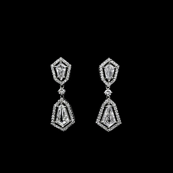 18K white gold 2.48ct Diamond Drop Earrings - image 1