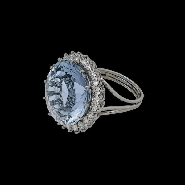 Platinum 21.82ct Natural Aquamarine and 2.00ct Diamond Ring - image 1