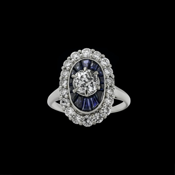 18K white gold 1.00ct Natural Blue Sapphire and 1.25ct Diamond Ring - image 1