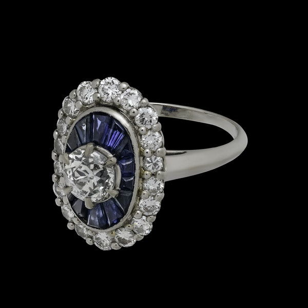 18K white gold 1.00ct Natural Blue Sapphire and 1.25ct Diamond Ring - image 2