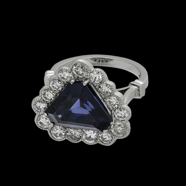 18K white gold 6.46ct Natural Blue Sapphire and 1.57ct Diamond Ring - image 2