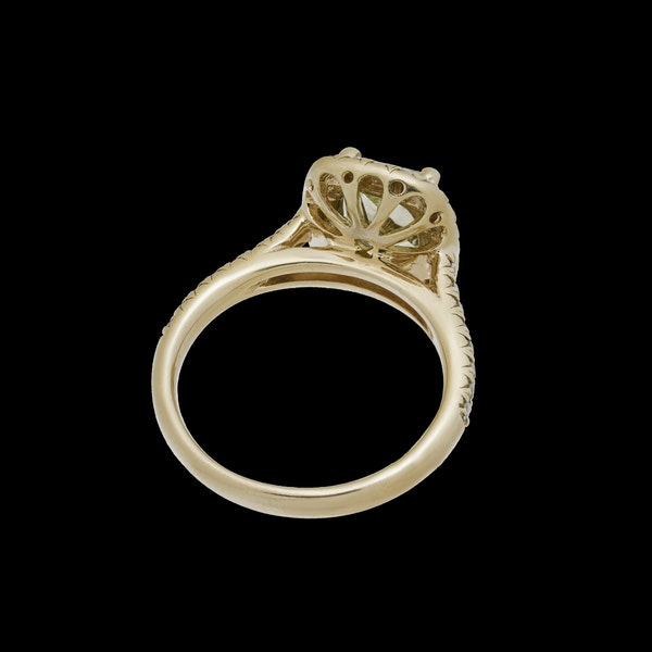 18K Yellow Gold 2.59ct Natural Fancy Yellow Diamond Ring - image 2