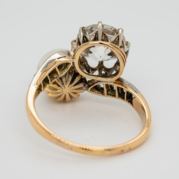 Pearl and diamond crossover  ring - image 4