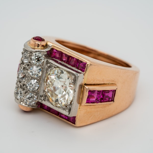 Retro diamond and ruby ring - image 3