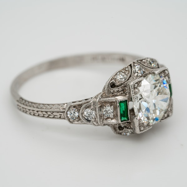 Art Deco diamond and emerald shoulders cluster ring - image 2