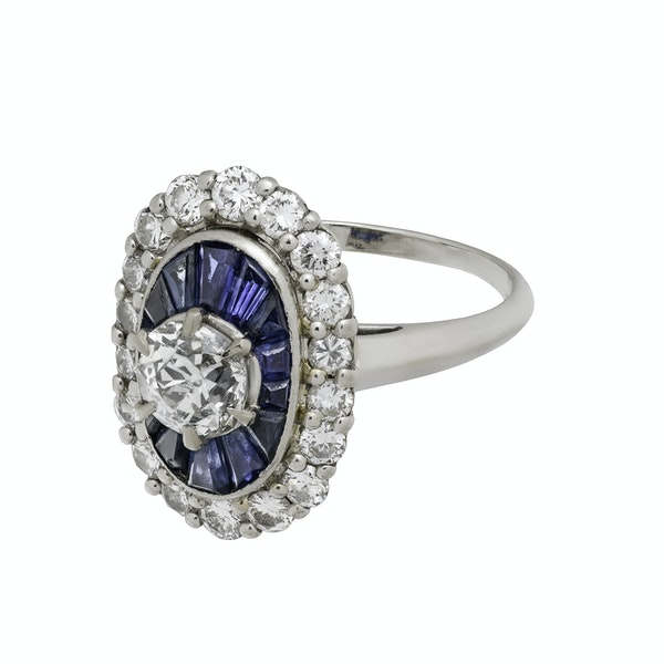 18K white gold 1.00ct Natural Blue Sapphire and 1.25ct Diamond Ring - image 4