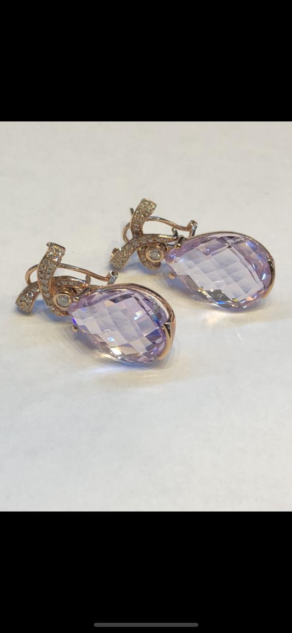 18K yellow gold 35.00ct Kunzite and 1.25ct Diamond Earrings - image 4