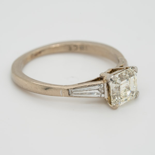 Diamond asscher cut solitaire ring with tapered  baguette shoulders - image 2