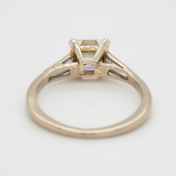 Diamond asscher cut solitaire ring with tapered  baguette shoulders - image 4