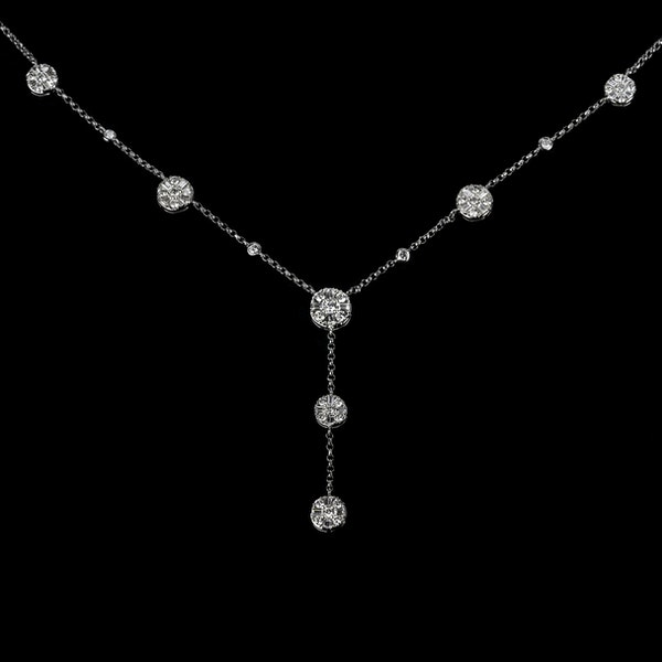 18K White Gold 3.50ct Diamond Necklace - image 1