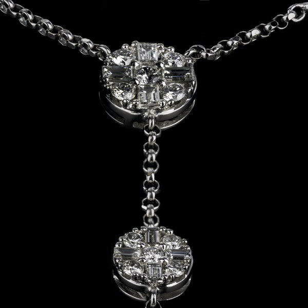 18K White Gold 3.50ct Diamond Necklace - image 2