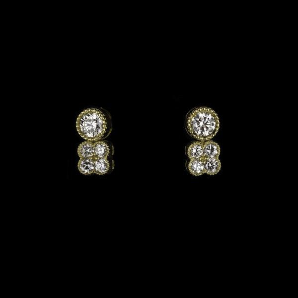 18K Yellow Gold 1.00ct Diamond Earrings - image 1