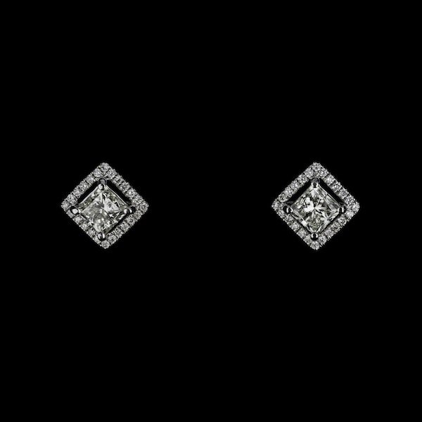 18K White Gold 2.24ct Diamond Studs Earrings - image 1