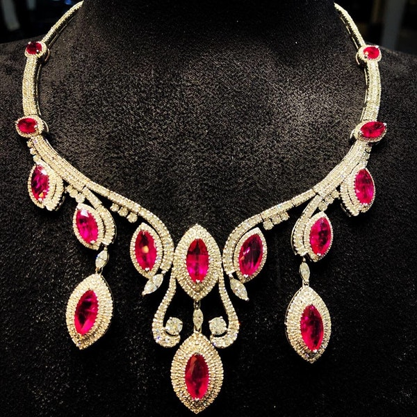 18K white gold Natural Ruby and Diamond Necklace - image 1