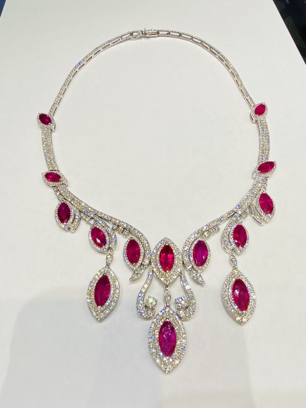 18K white gold Natural Ruby and Diamond Necklace - image 2