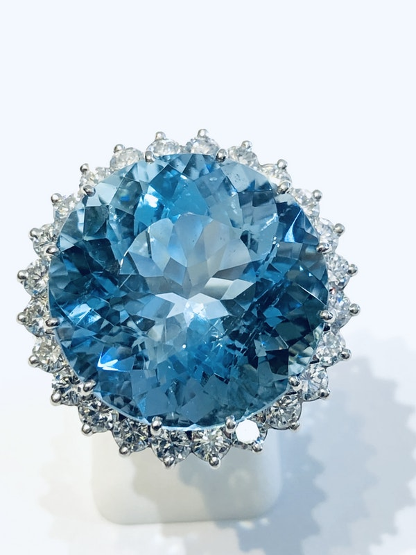 Platinum 21.82ct Natural Aquamarine and 2.00ct Diamond Ring - image 4