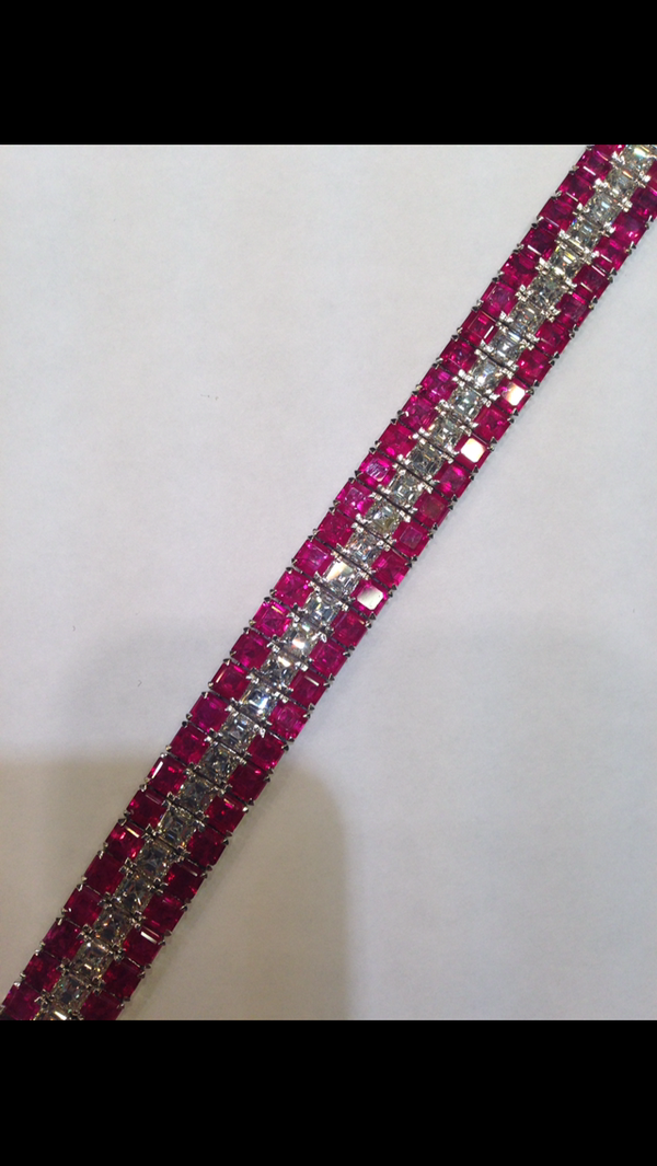 18K White Gold 29.56ct Natural Ruby and 11.82ct Diamond bracelet - image 2