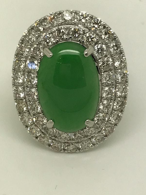 18K white gold 4.96ct Natural Jade and 2.45ct Diamond Ring - image 2