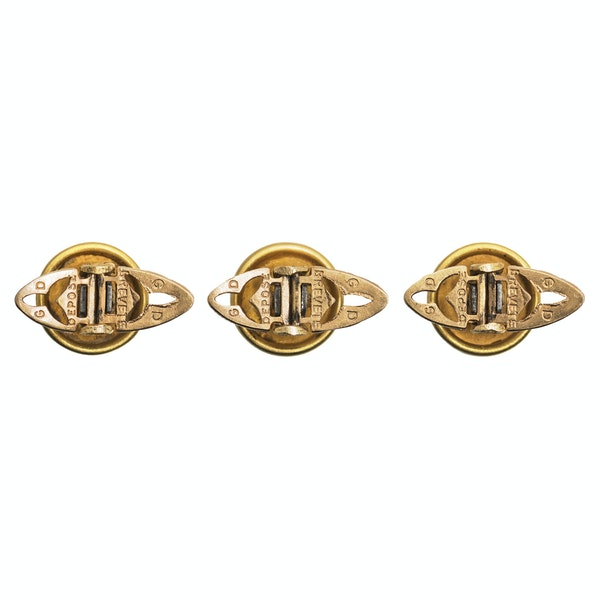 Antique Cufflinks & Studs in 18 Karat Gold with Criss Cross Design and inset Enamel, French circa 1890. - image 6