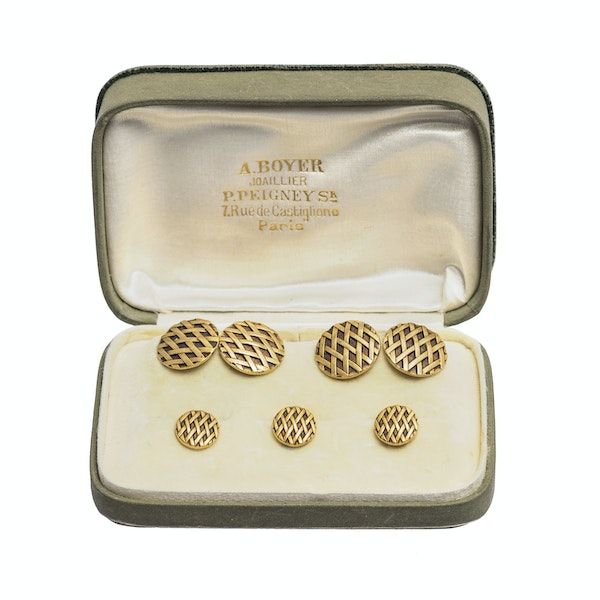 Antique Cufflinks & Studs in 18 Karat Gold with Criss Cross Design and inset Enamel, French circa 1890. - image 2