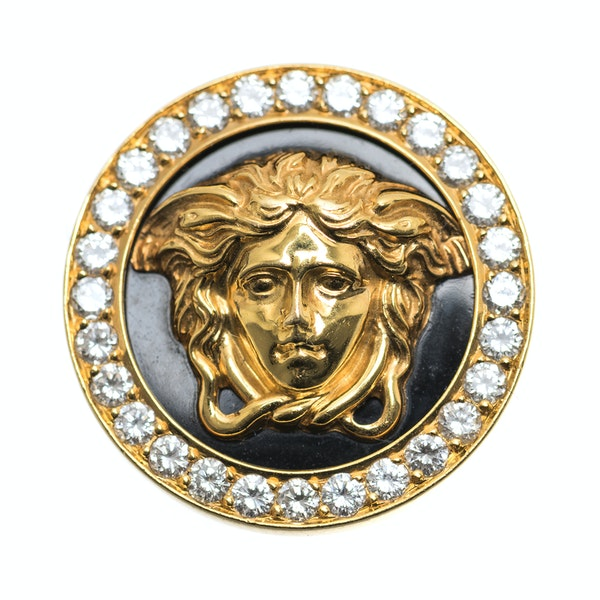 Vintage Gianni Versace Earrings of Medusa in 18 Karat Gold and Diamonds, Italian circa 1980. - image 2