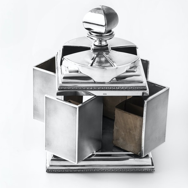Magnificent Art Deco Silver Cigarette Box with elegant swivel action by ASPREY - image 2