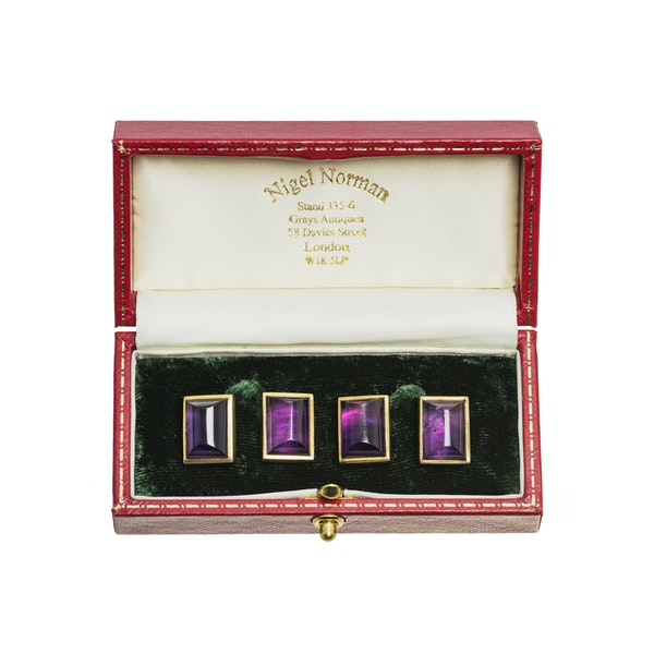 Vintage Amethyst Cufflinks in 9 Carat Gold with Close Back Setting, English 1997. - image 4