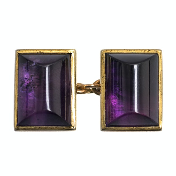 Vintage Amethyst Cufflinks in 9 Carat Gold with Close Back Setting, English 1997. - image 2