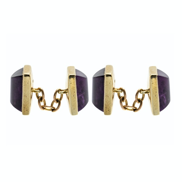 Vintage Amethyst Cufflinks in 9 Carat Gold with Close Back Setting, English 1997. - image 3