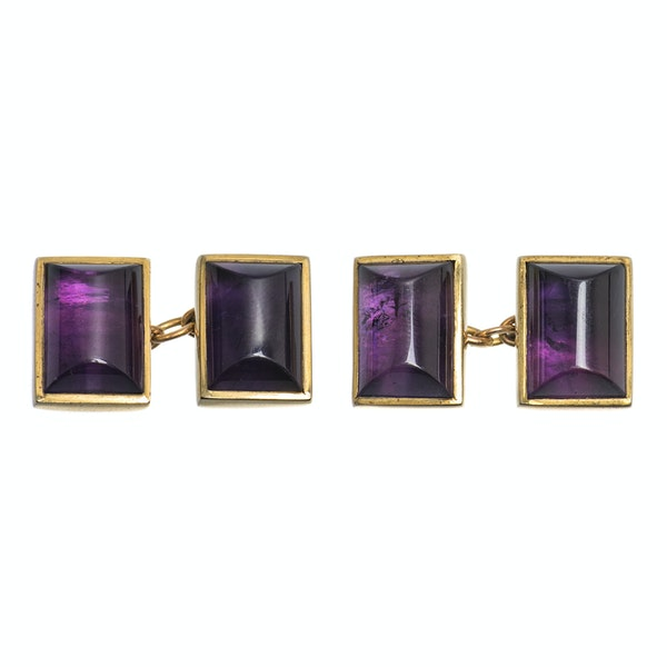 Vintage Amethyst Cufflinks in 9 Carat Gold with Close Back Setting, English 1997. - image 1