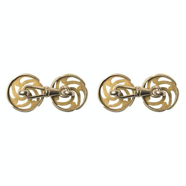 Art Nouveau Openwork Cufflinks in 14 Karat Gold with Central Diamond, Austrian circa 1900. - image 4