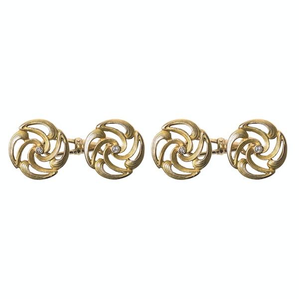Art Nouveau Openwork Cufflinks in 14 Karat Gold with Central Diamond, Austrian circa 1900. - image 1