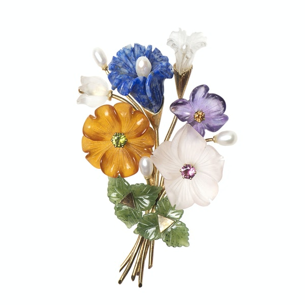 Viennese Botanical Spray Brooch in 14 Karat Gold of Carved Flowers in Coloured Stones, Austrian circa 1950. - image 1