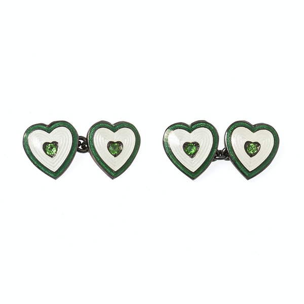 Vintage Heart Cufflinks with Peridot Centre and Enamel on Silver, Deakin & Francis 1937. - image 1