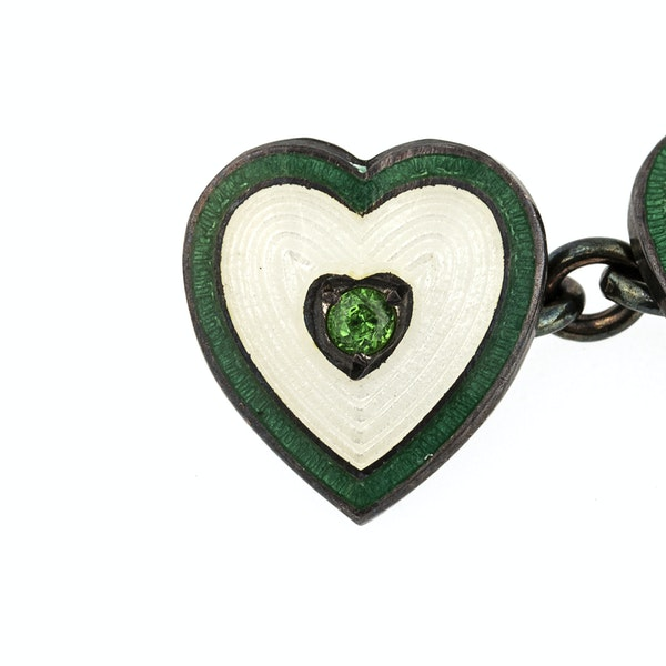 Vintage Heart Cufflinks with Peridot Centre and Enamel on Silver, Deakin & Francis 1937. - image 2