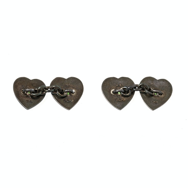 Vintage Heart Cufflinks with Peridot Centre and Enamel on Silver, Deakin & Francis 1937. - image 4