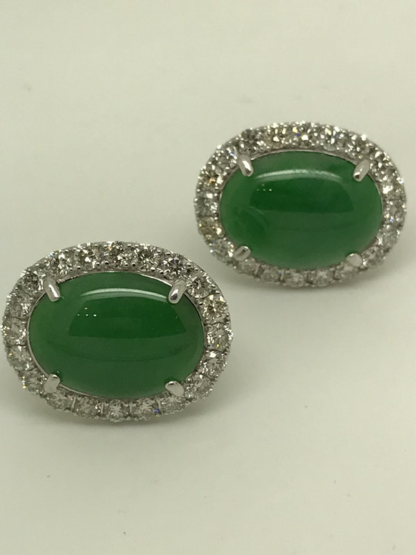 18K white gold 9.91ct Natural Jade and 2.10ct Diamond Earrings - image 2