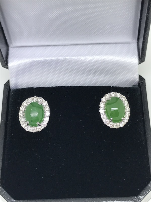 18K white gold 3.66ct Natural Jade and 0.81ct Diamond Earrings - image 2