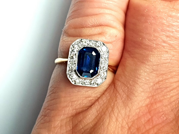 Edwardian sapphire and diamond engagement ring  DBGEMS - image 6