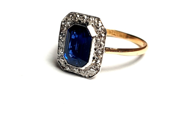 Edwardian sapphire and diamond engagement ring  DBGEMS - image 3