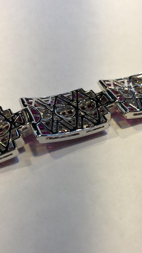 18K white gold 23.17ct Natural Ruby and 5.20 Diamond Bracelet - image 2