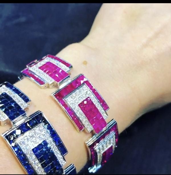 18K white gold 23.17ct Natural Ruby and 5.20 Diamond Bracelet - image 5