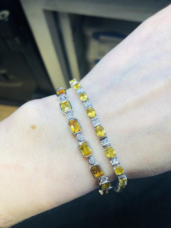 18K white gold 13.53ct Natural Yellow Sapphire and 0.89ct Diamond Bracelet - image 6