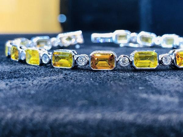 18K white gold 13.53ct Natural Yellow Sapphire and 0.89ct Diamond Bracelet - image 1