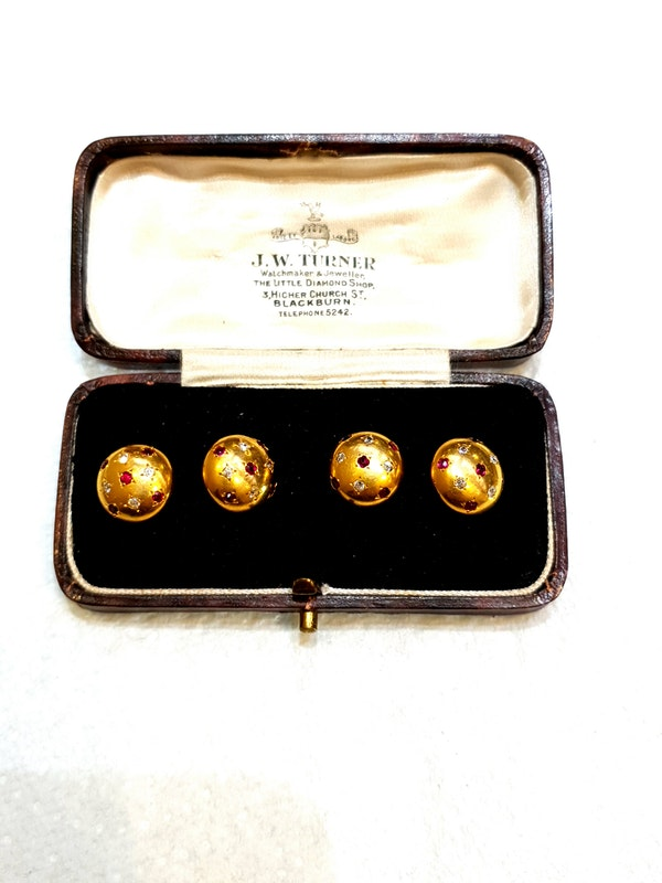 Pair of ruby and diamond gold cufflinks  DBGEMS - image 5