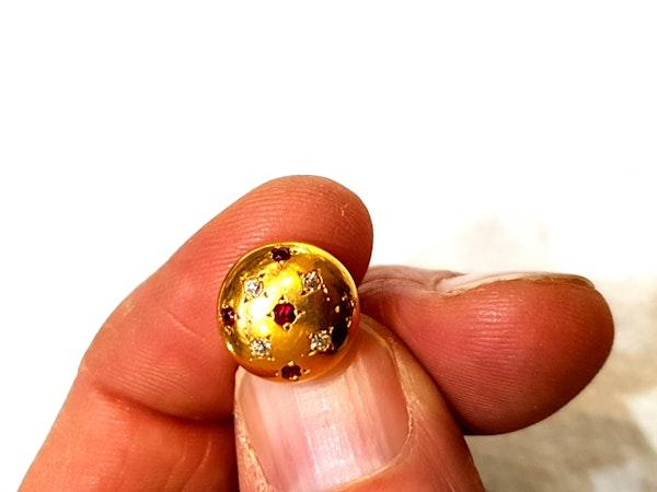 Pair of ruby and diamond gold cufflinks  DBGEMS - image 3
