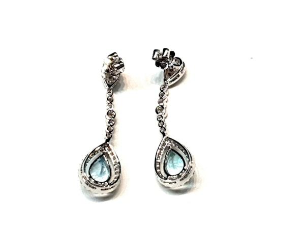 Aquamarine and diamond drop earrings  DBGEMS - image 2