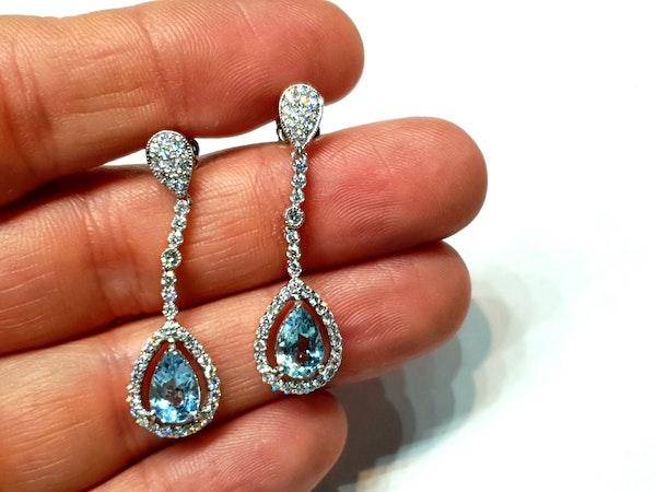 Aquamarine and diamond drop earrings  DBGEMS - image 3