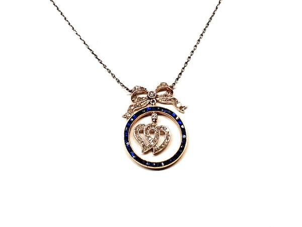 Edwardian sapphire and diamond entwined heart pendant  DBGEMS - image 2
